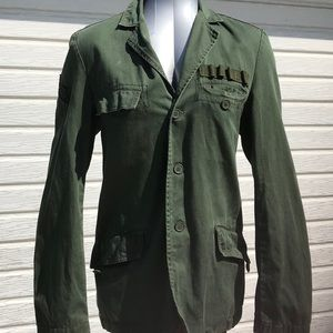 Vintage olive green military Ammo jacket